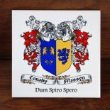 Double Family Crest Personalised ceramic tile, ref FCT2